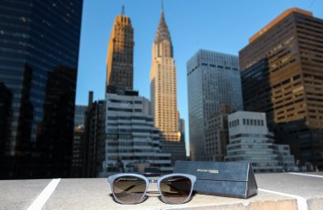 NEW YORK, NY - AUGUST 24: St. Giles sunglasses designed exclusively by William Morris sit in front of the Chrysler Building during The Taste Of Tennis Master Class With St Giles Hotels at The Tuscany, A St Giles Signature Hotel on August 24, 2016 in New York City. (Photo by Donald Bowers/Getty Images for St Giles Hotels)