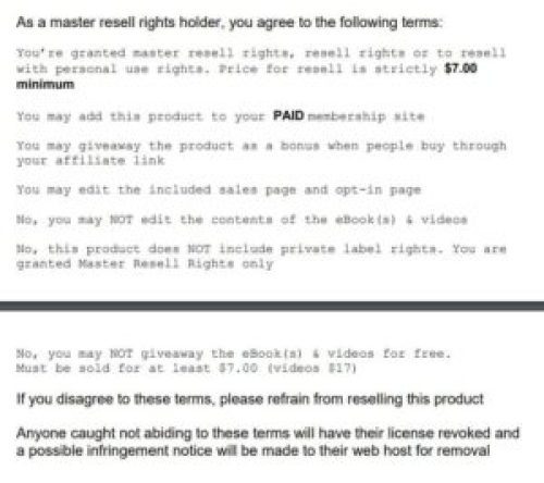 Strict Master Resell Rights License MRR Example