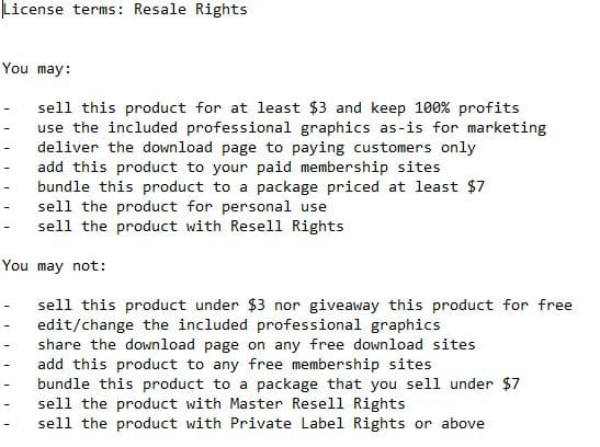 Resell Rights, RR License example