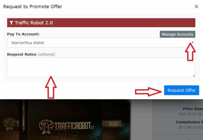 applying for traffic robot's affiliate approval on warrior plus pop up