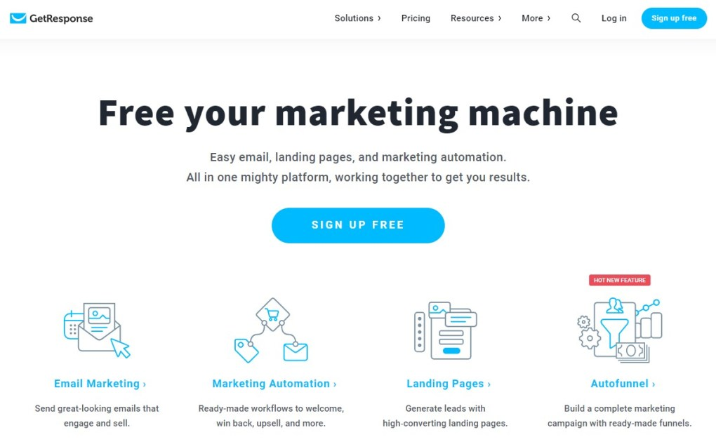GetResponse Review Homepage