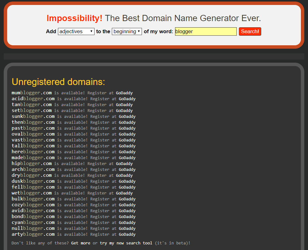 Impossibility Search Results