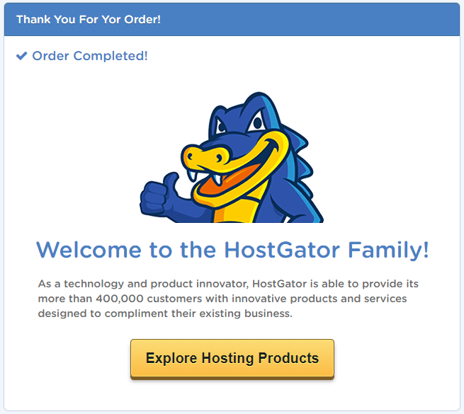 Start a blog with HostGator Payment  Confirmation