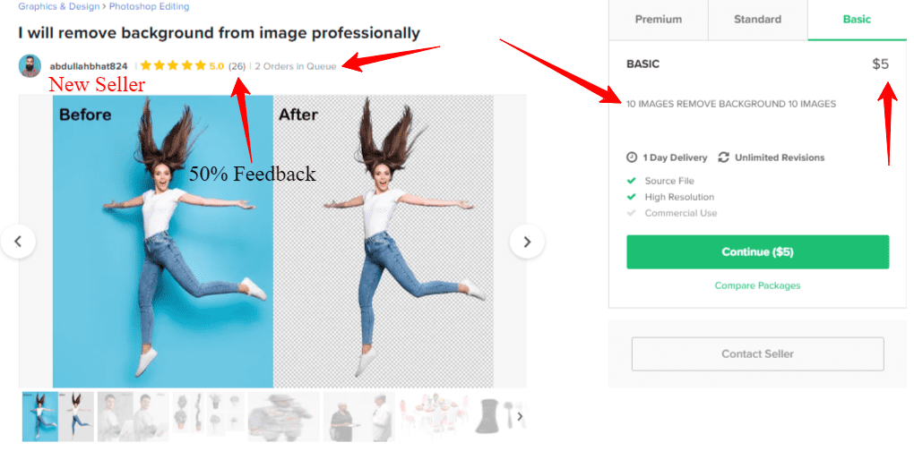 Earn money with Fiverr new seller background removal gig