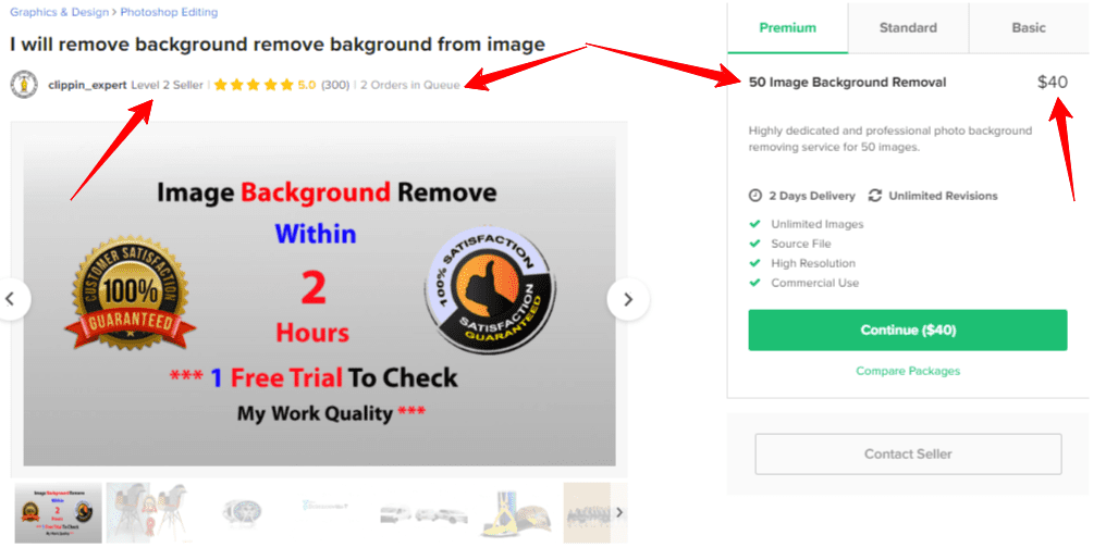 Background remove Fiverr level 2 seller