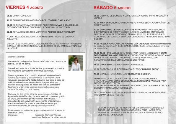 El Cristo 2017 programa INTERIOR