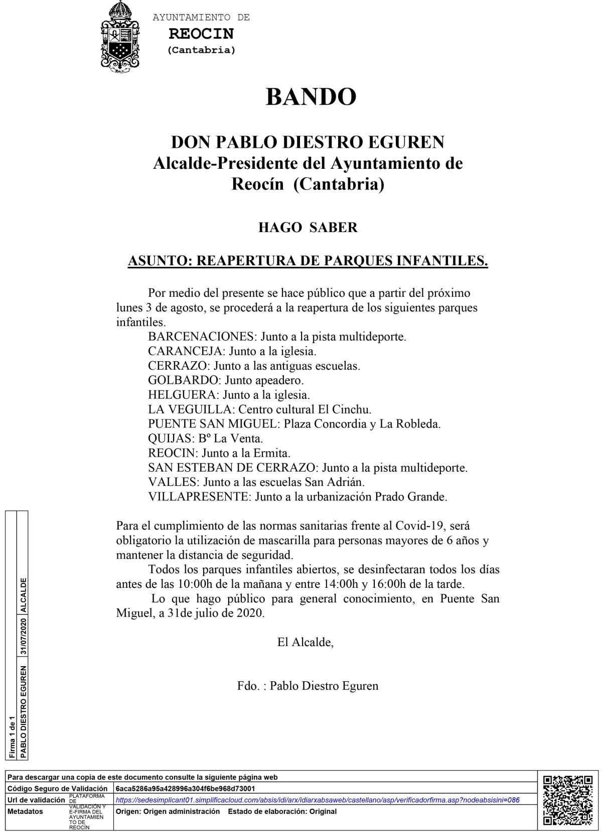 BANDO REAPERTURA PARQUES
