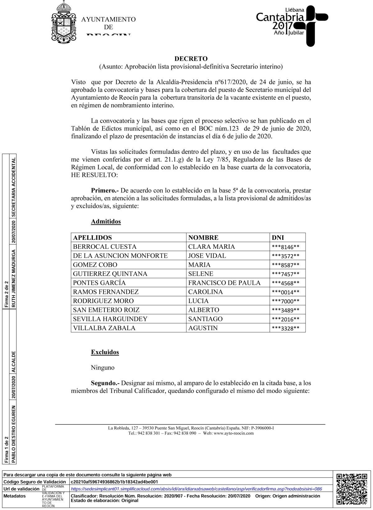 lista provisional secretario interino, nombramiento tribunal y entrevista curricular-1