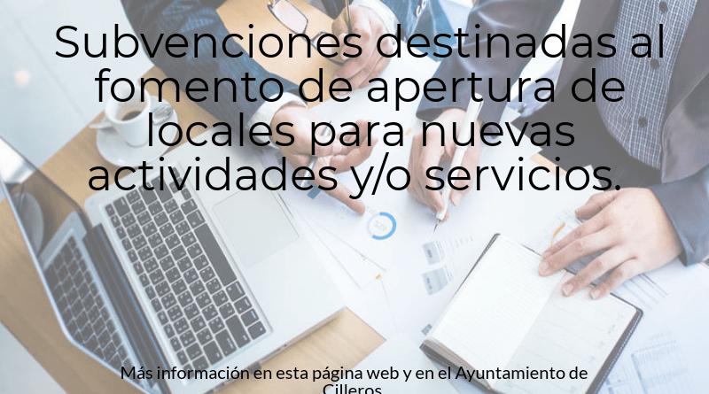 Subvenciones destinadas al fomento de apertura de locales para nuevas actividades y/o servicios.