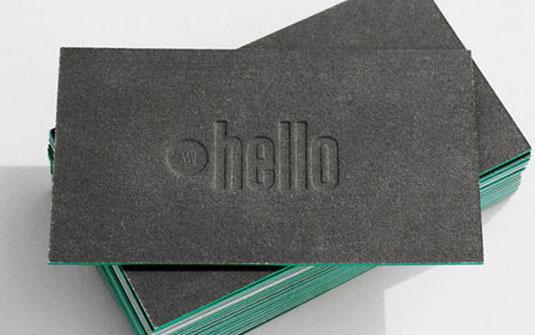 Desain Kartu Nama dengan Cetak Letter Press - kartu nama emboss unique - hello - amy