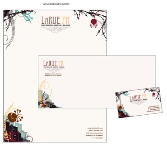 Contoh Desain Kop Surat dan Kartu Nama Paling Kreatif - Contoh-Desain-Kop-Surat-Kreatif-01-LaRue-Stationery