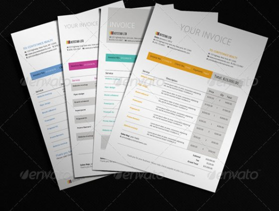 Contoh Invoice Desain Modern - 4-Color-Modern-Invoice-Template