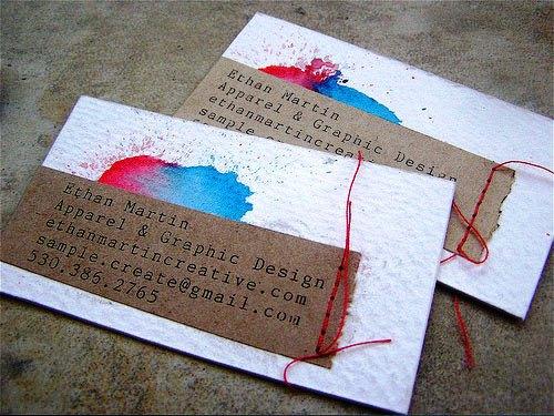 Contoh Desain Kartu Nama yang Unik - Ethan-Martin-red-blue-splash-business-card