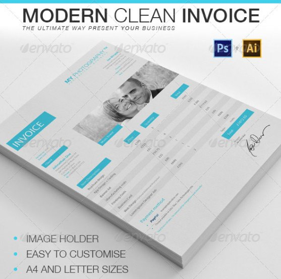 Contoh Invoice Desain Modern - Modern-Clean-Invoice