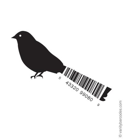 Desain Barcode Keren yang Unik - desain barcode unik kreatif vanitybarcodes - barcode seperti burung