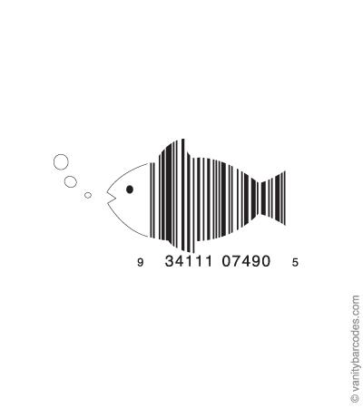 Desain Barcode Keren yang Unik - desain barcode unik kreatif vanitybarcodes - barcode seperti ikan