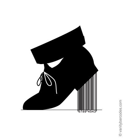 Desain Barcode Keren yang Unik - desain barcode unik kreatif vanitybarcodes - barcode seperti sepatu