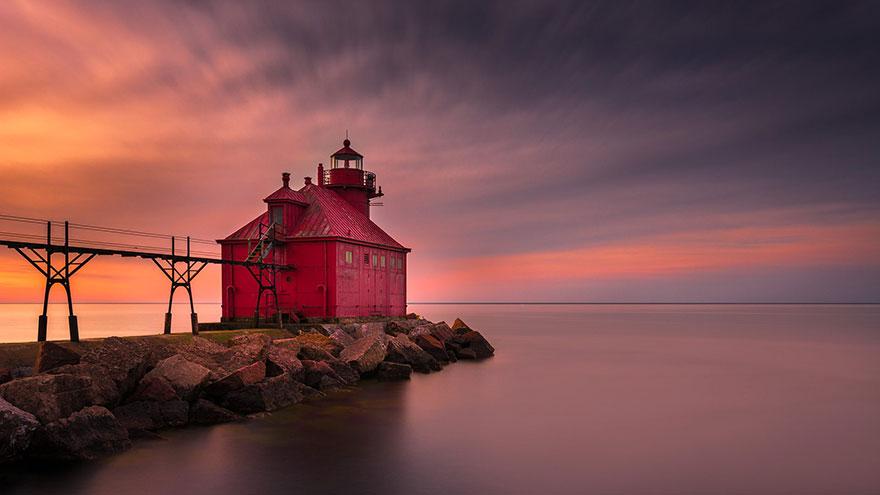 Mercusuar Terindah di Dunia - Gambar Foto Lampu Sturgeon Bay, Wisconsin, USA