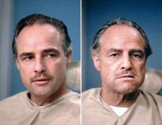 Foto Luar Biasa Yang Belum Pernah Anda Lihat - Gambar-Foto-marlon-brando-setelah-mendapatkan-make-up-untuk-perannya-di-film-Godfather