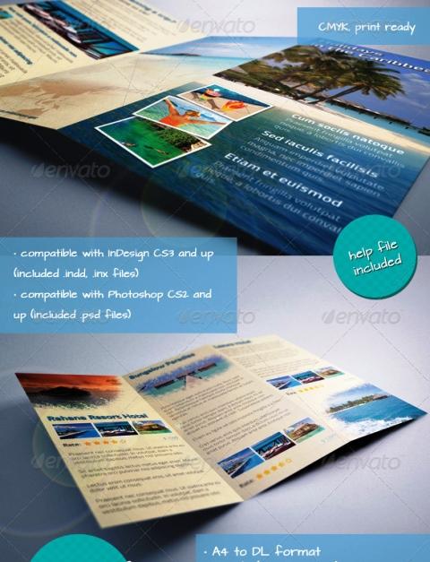 25 Contoh Desain Brosur Tour Dan Travel Terbaik - Brosur-Tour-dan-Travel-Caribbean-Holiday-Travel-Offer-Tri-fold-Brochure