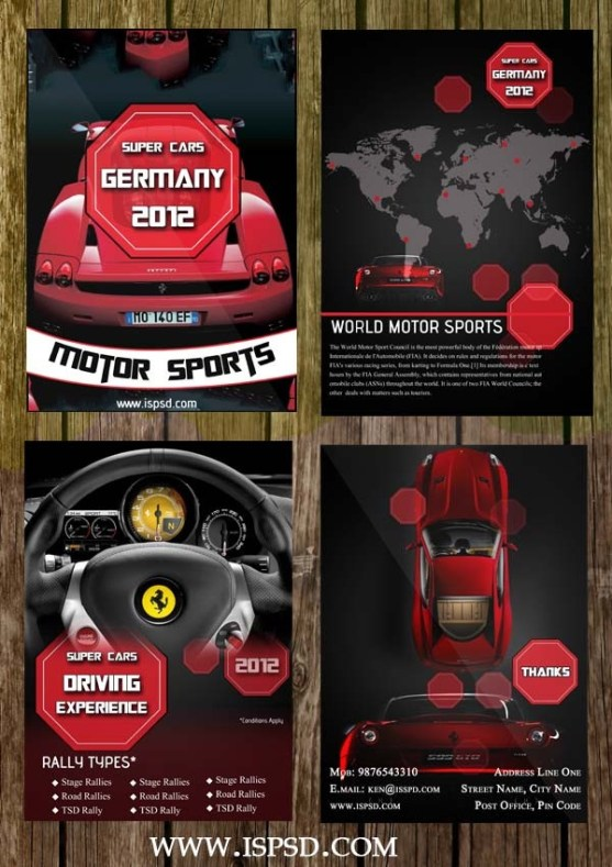30 Desain Brosur Flyer Template Download Gratis - Brosur-Flyer-Template-Gratis-Download-Bi-Fold-Automobile-Brochure-PSD