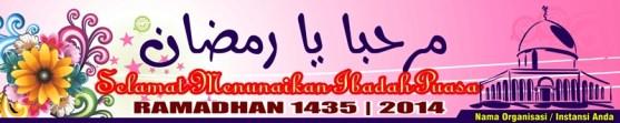 Banner Floral hijau masjid siluet