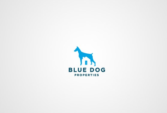 Logo dengan Desain Spasi Negatif - Logo-Blue-Dog-Properties