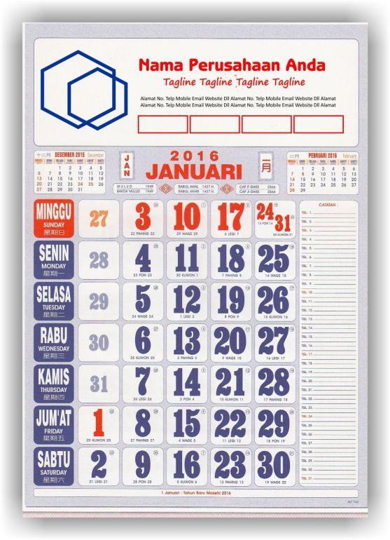 Kalender Cetak bagi Perusahaan dan Contoh Desain Kalender Kerja - Kalender Kerja Standard 2 Warna