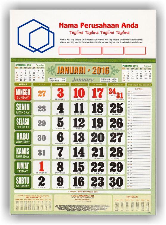 Kalender Cetak bagi Perusahaan dan Contoh Desain Kalender Kerja - Kalender Kerja Standard FC + Jadwal Sholat