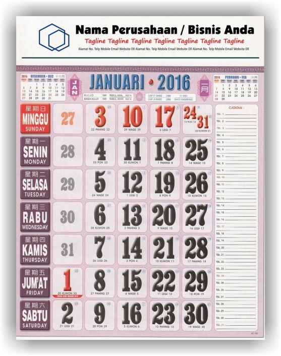 Kalender Cetak bagi Perusahaan dan Contoh Desain Kalender Kerja - Kalender Kerja Super Full Color