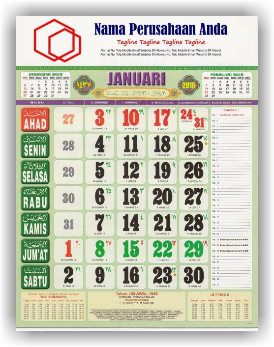 Kalender Cetak bagi Perusahaan dan Contoh Desain Kalender Kerja - Kalender KerjaWuku Super