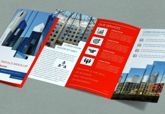 Membuat Desain Brosur untuk Usaha - Trifold-Brochure-Mock-Up