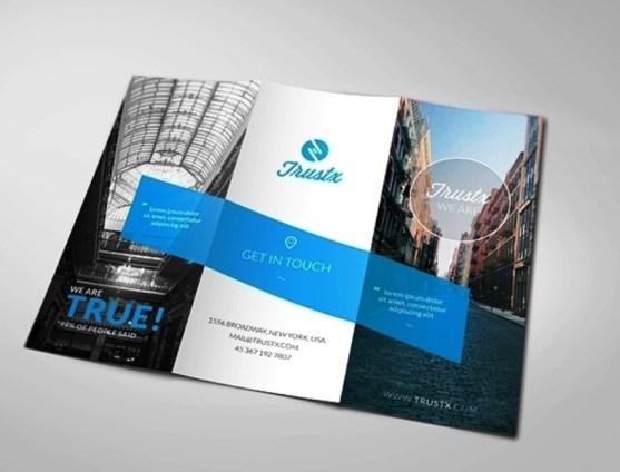 Membuat Desain Brosur untuk Usaha - Trustx - Corporate Tri-fold Brochure