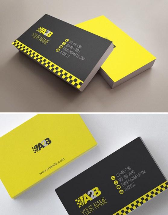 Desain Kartu Nama Bisnis Taksi - Kartu Nama Taxi - Travel A2B Taxi Company Stationery Design