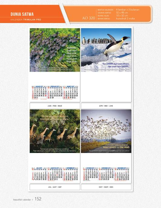 Kalender Dinding AO 3 Bulanan Desain Profesional Triwulan ...