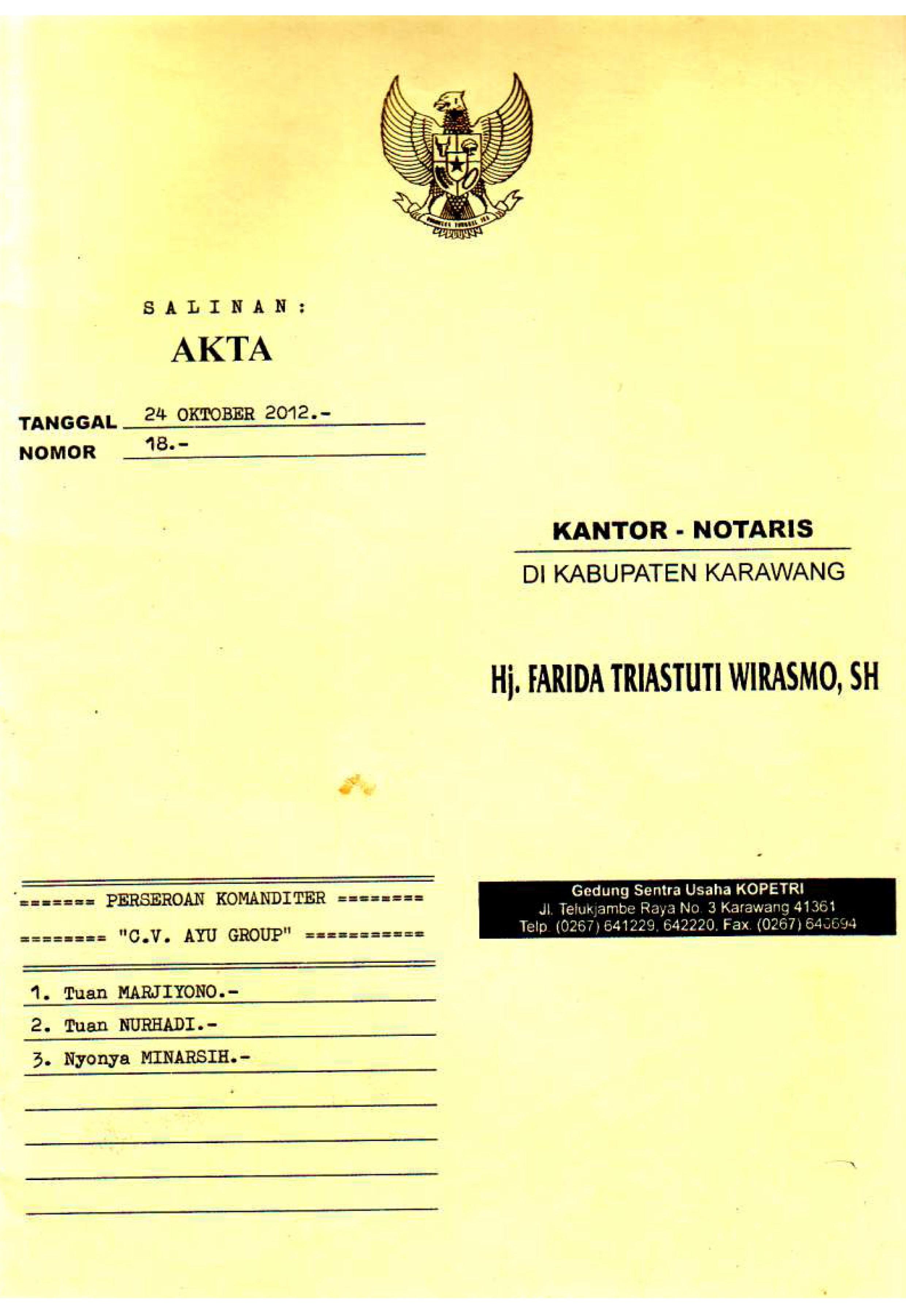 Dokumen Legalitas CV Ayu Group AKta Notaris 1
