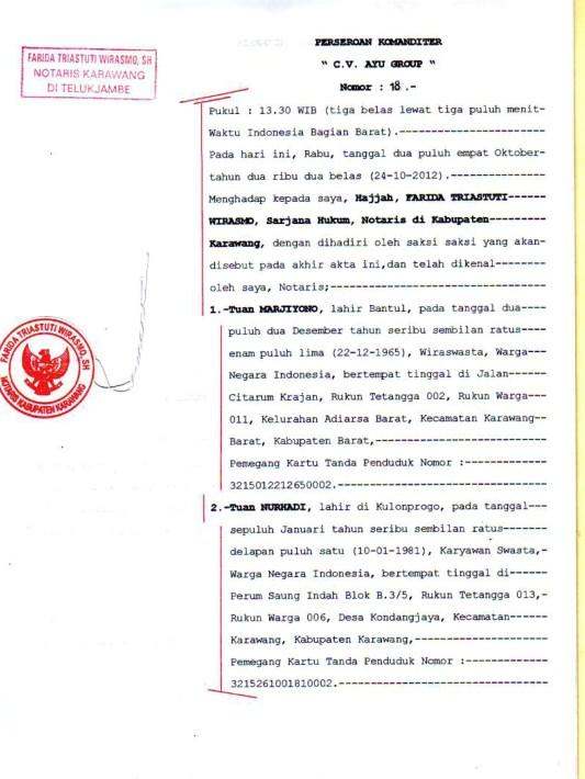 Dokumen Legalitas CV Ayu Group AKta Notaris 2