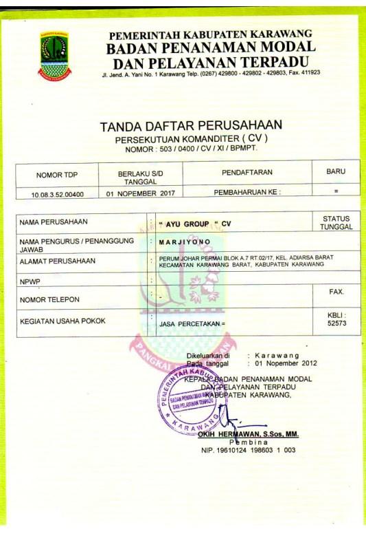 Dokumen Legalitas CV Ayu Group TDP