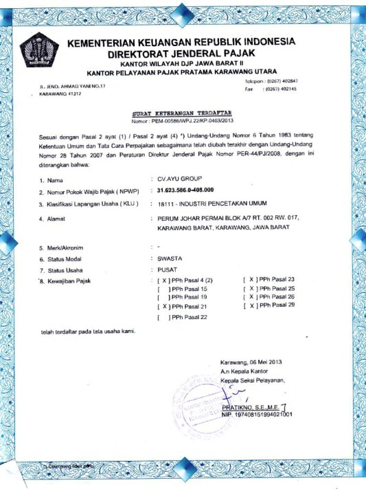 Dokumen Legalitas CV Ayu Group Terdaftar Pajak