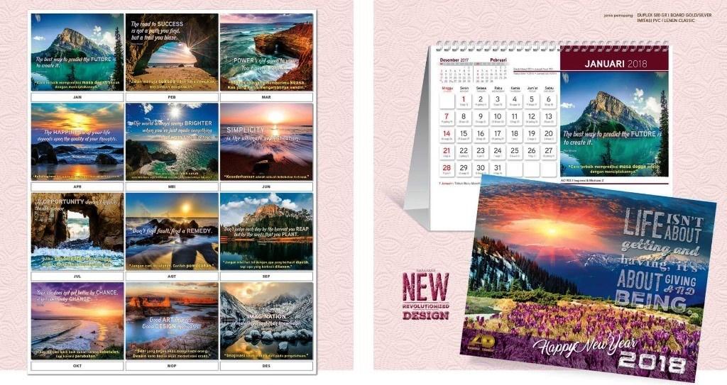36 Desain Kalender Meja 2018 Desain Standard Special Exclusive Executive