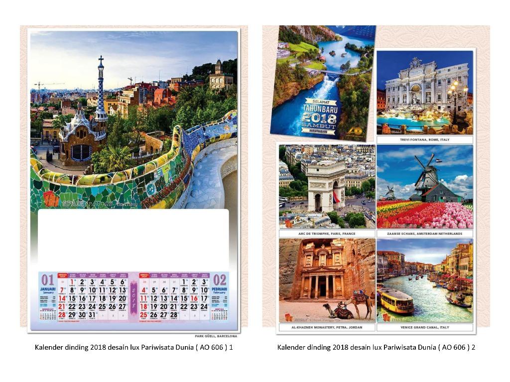 kalender dinding 2018 desain lux 6 lembar 2 bulanan