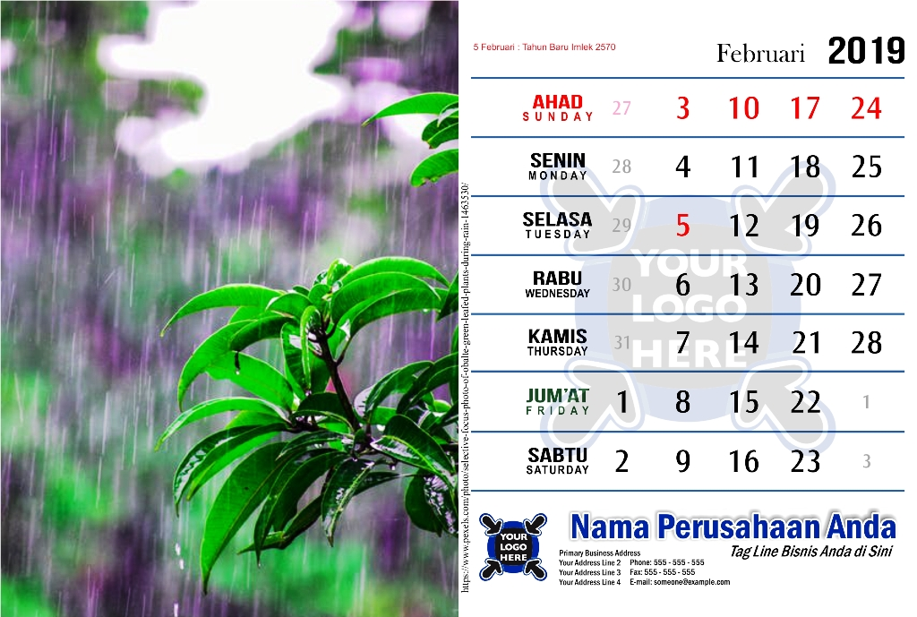 Template Kalender 2019 Free Download Tema Hujan PDF Jpg CDR Corel