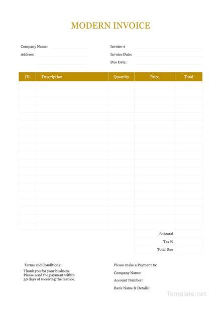 Template Invoice Faktur Format