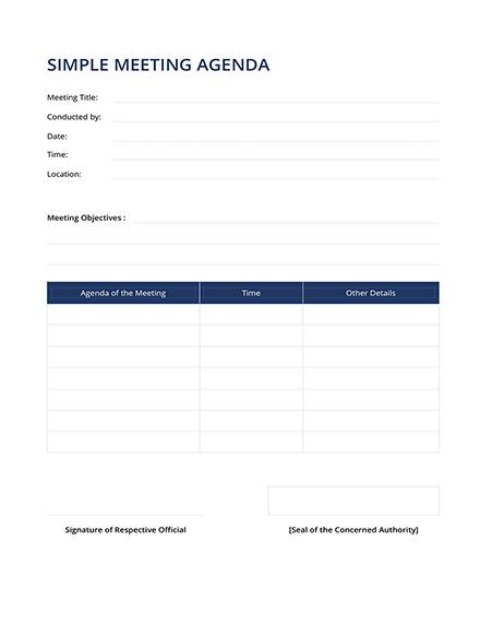 Template Agenda Sederhana