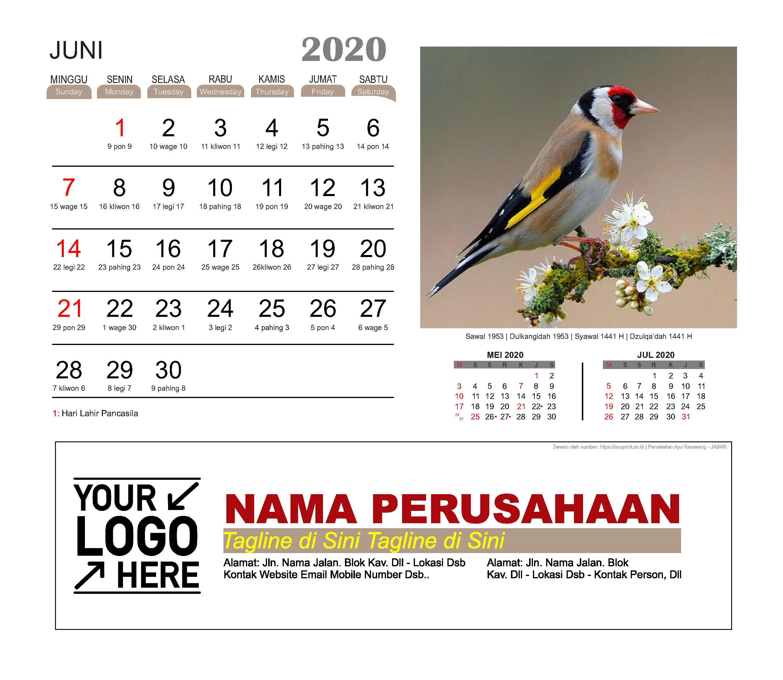 Kalender Meja 2020 Burung Cantik Download Gratis Template Vector PDF