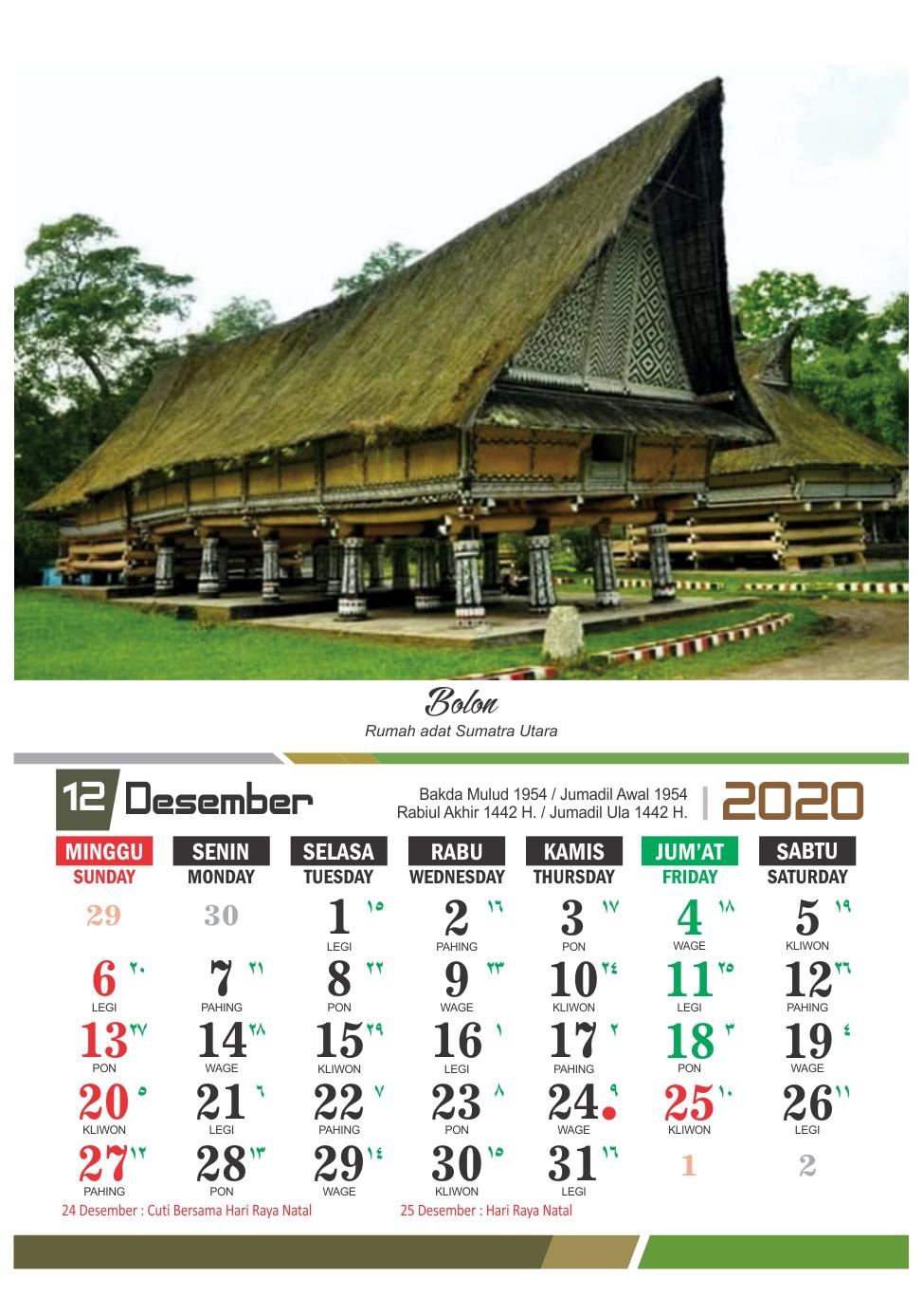 Kalender 2020 Rumah Adat Indonesia