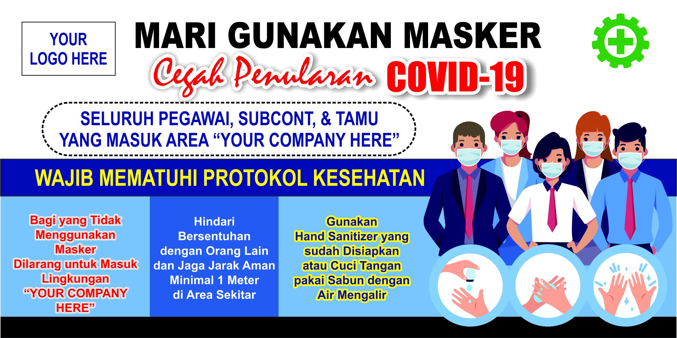 Banner Spanduk Covid 19 Corona Virus Untuk Kampanye Pencegahan