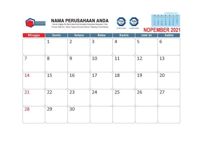 Download Template Kalender Meja 2021 Gratis