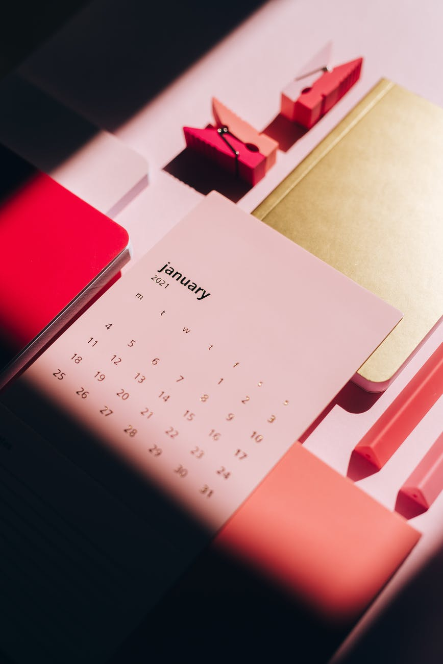 notepads with pink calendar paper