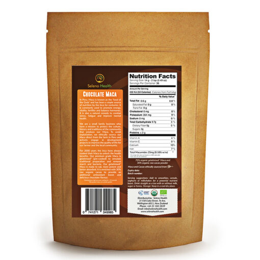 Organic Choco Maca 500g back by Seleno Health